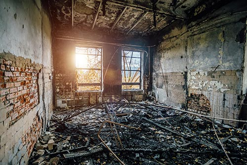 burned building interior